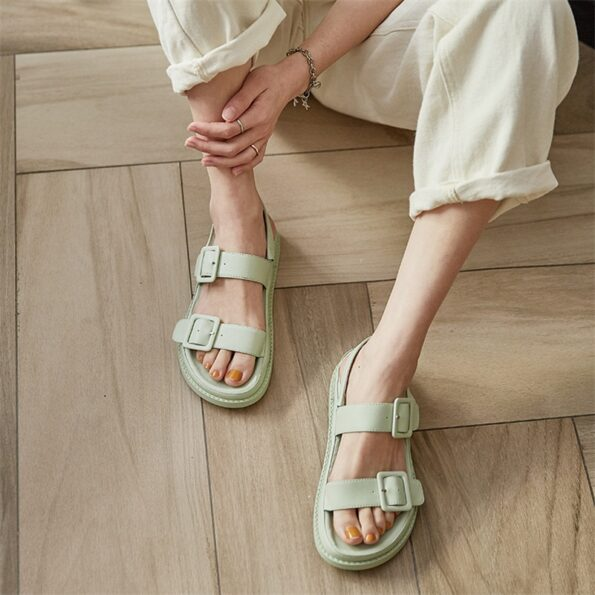 Leather Round Toe Sandals 2