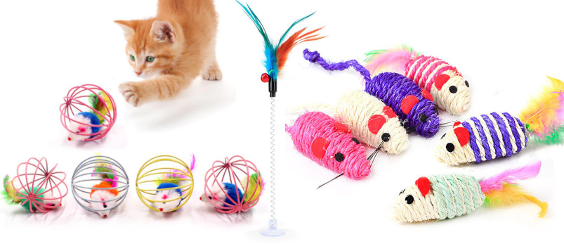 Cat Interactive Toy Stick Feather Wand With Small Bell Mouse Cage Toys