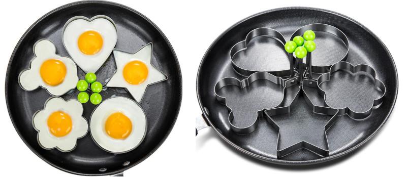 Stainless Steel 5Style Fried Egg Pancake Shaper Omelette Mold