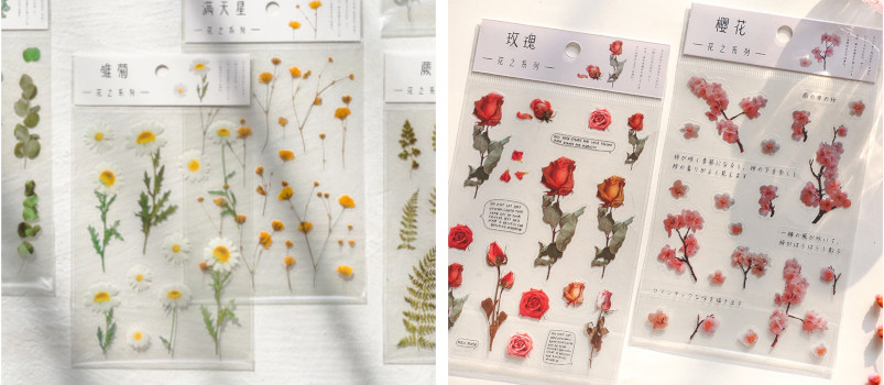 Natural Daisy Clover Japanese Words Stickers Transparent PET Material Flowers Leaves Plants Deco Stickers