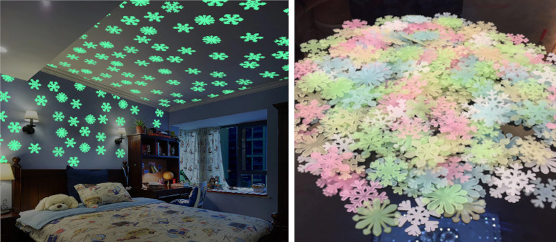 Star and Moon Energy Storage Fluorescent Glow In the dark Luminous on Wall Stickers for Kids Room